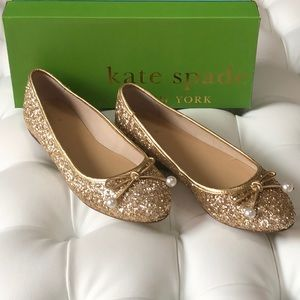Kate Spade Ellio Gold Ballet Flats with Beaded Bow